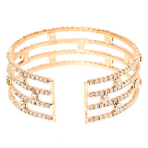Rose Gold Rhinestone Stacked Cuff Bracelet,