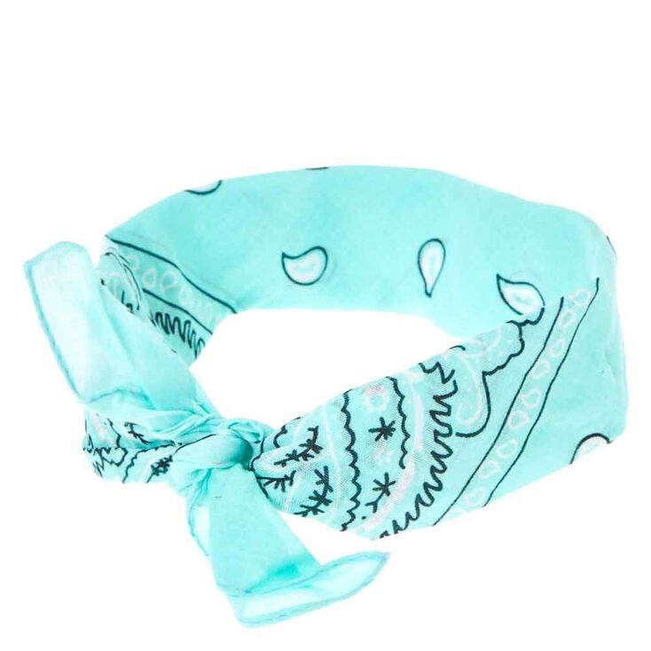 Paisley Print Bandana Headwrap - Mint,