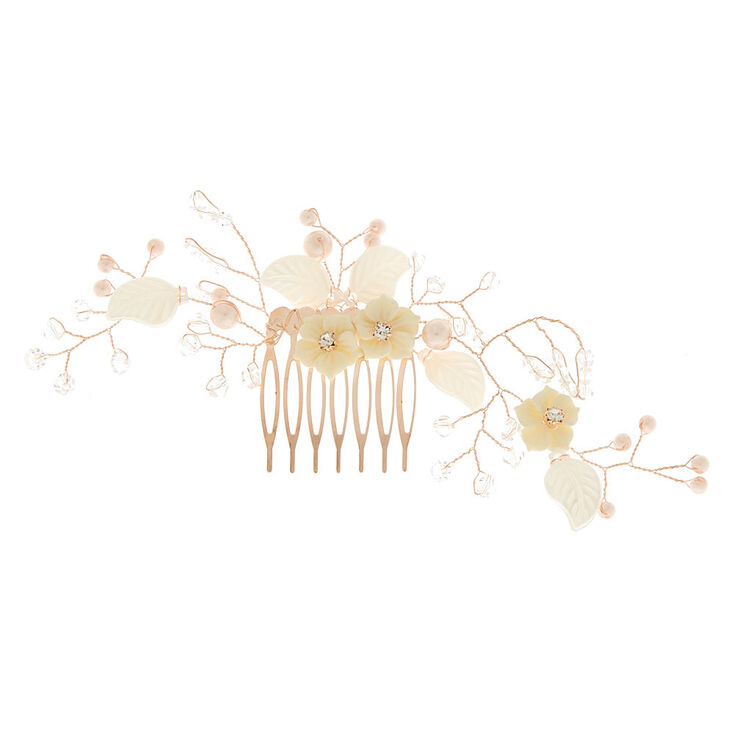 Rose Gold Vintage Floral Hair Comb,