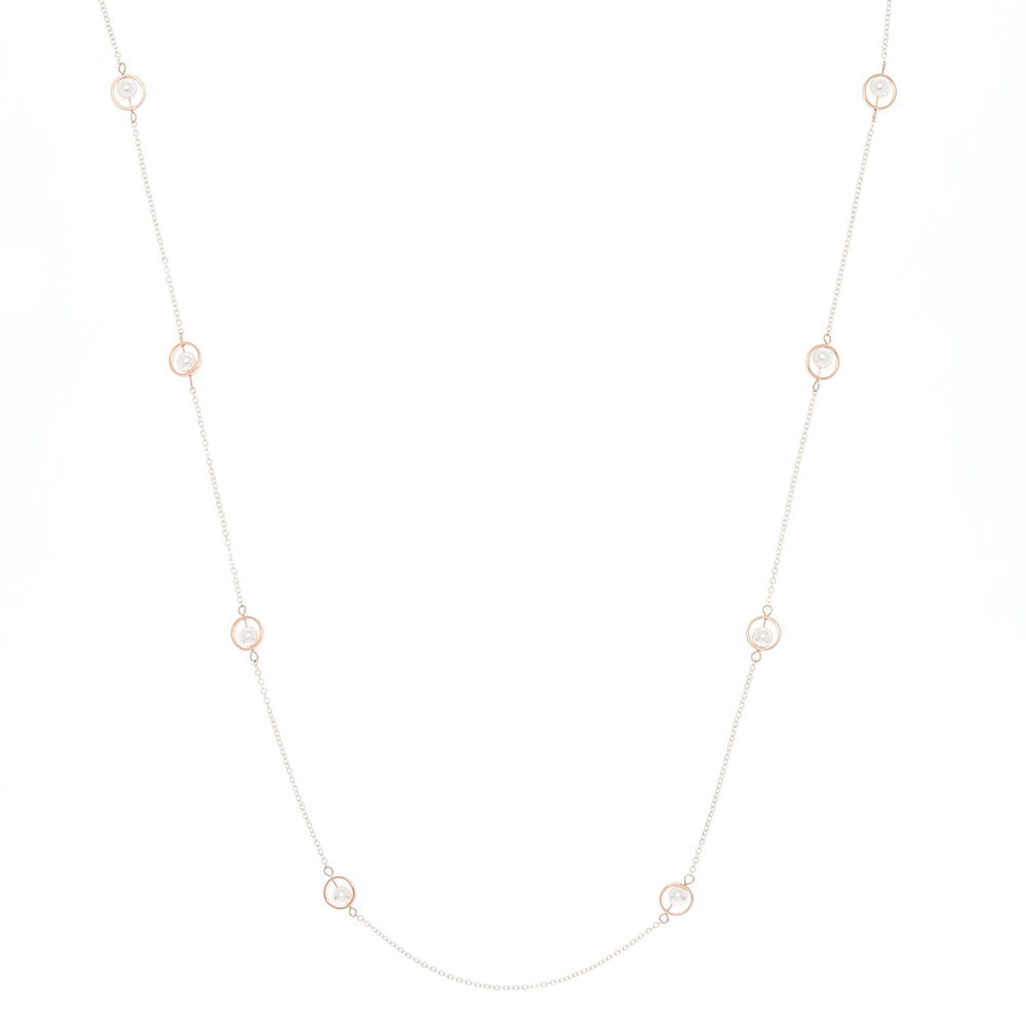 Silver rose gold pearl long pendant necklace icing us silver amp rose gold pearl long pendant necklace aloadofball Image collections