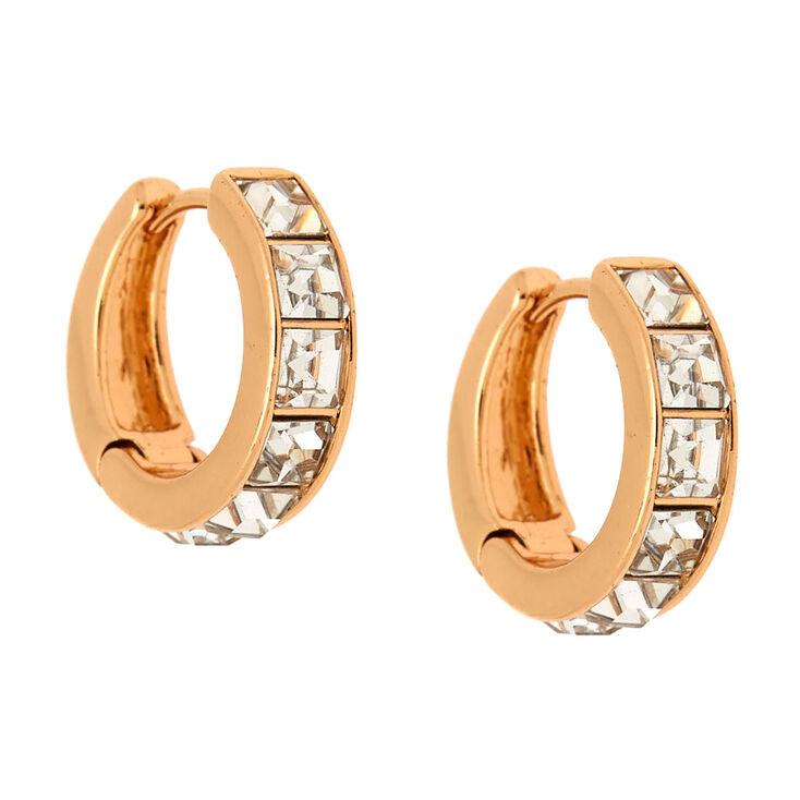 Gold 12MM Embellished Huggie Hoop Earrings,