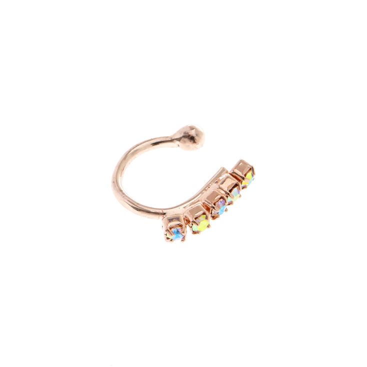 Faux Rose Gold Huggie Nose Ring,