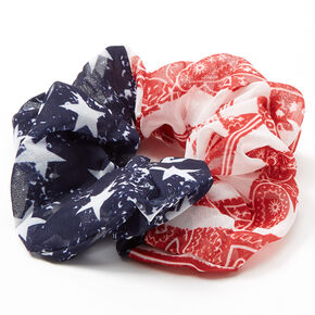 Medium American Flag Paisley Banana Hair Scrunchie,