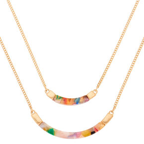 Gold Resin Painted Bib Multi Strand Necklace,
