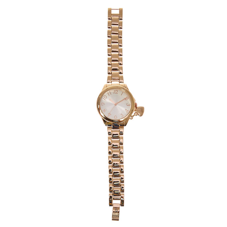 Rose Gold Heart Charm Watch,