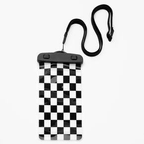 Black & White Checkered Waterproof Pouch,