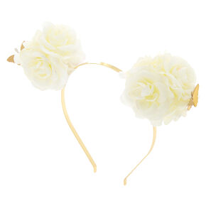 Flower Bear Ears Headband - Ivory White,