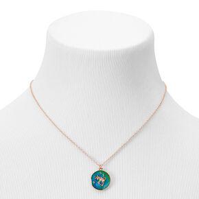 Gold Round Mood Zodiac Pendant Necklace - Taurus,