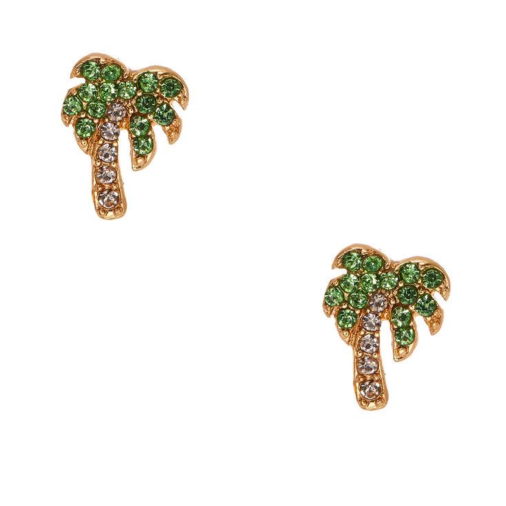 Crystal Palm Tree Stud Earrings