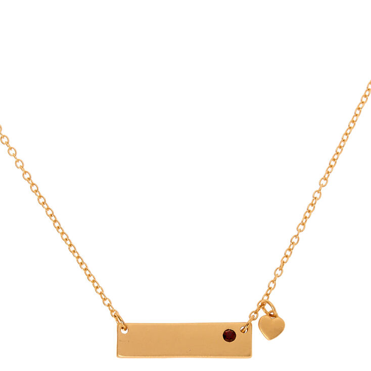Gold January Birthstone Bar Pendant Necklace - Garnet,
