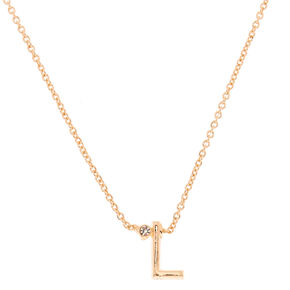 Gold Initial Necklace - L,