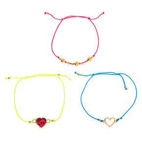Gold Neon Heart Adjustable Bracelets - 3 Pack,
