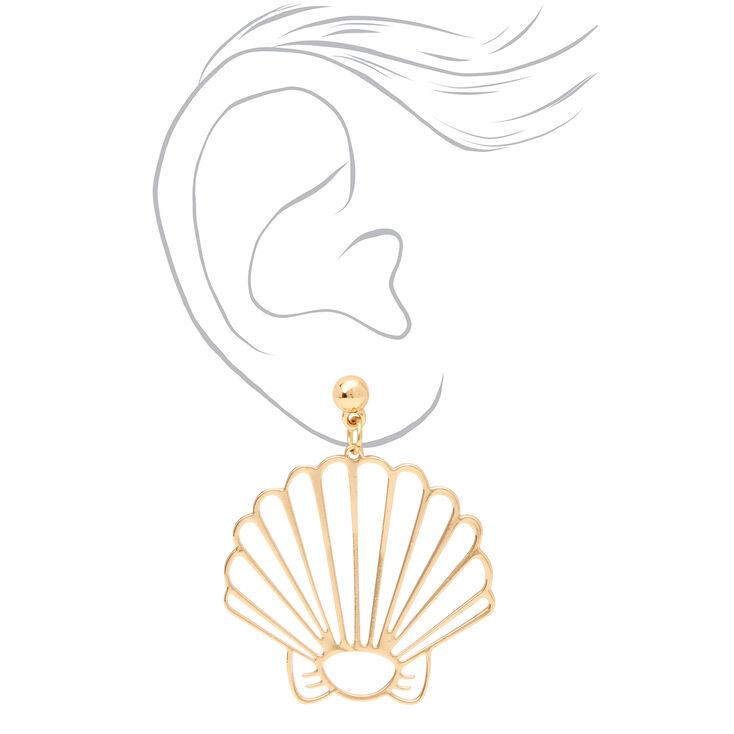 """Gold 1.5"""" Cutout Shell Drop Earrings,"""