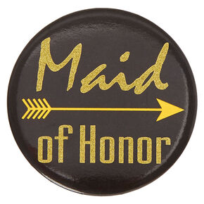 Black & Gold Maid of Honor Button,
