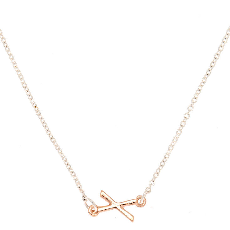 Mixed Metal Sideways Initial Pendant Necklace - X,