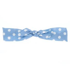 Polka Dot Bow Headwrap - Blue,