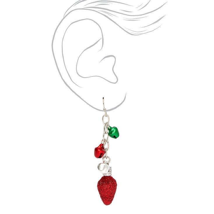 """Silver 2"""" Jingle Bell Lights Drop Earrings,"""