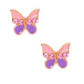 Sterling Silver Pink & Purple Split Butterfly Stud Earrings,