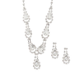 Rhinestone & Crystal Teardrops Y Necklace & Drop Earrings Set,