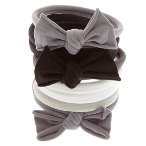8 Pack Monotone Bow Swiss Rolled Hair Ties,