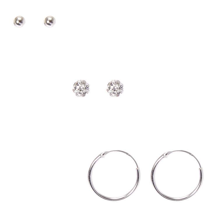 925 Sterling Silver Fireball Stud Earrings 3 Pack,