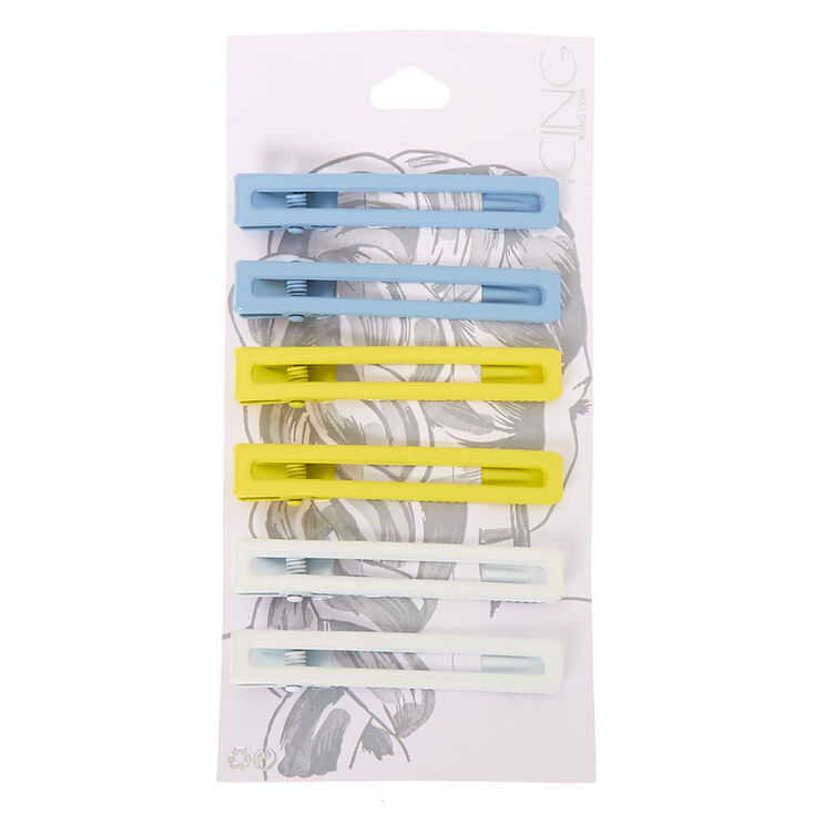 Rectangle Matte Pastel Hair Clips - 6 Pack,