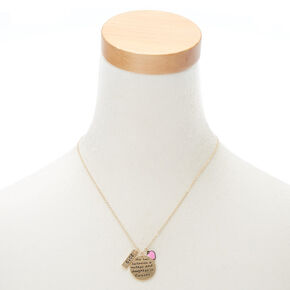 Gold Mother Daughter Pendant Necklace,