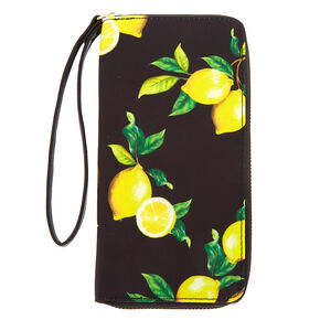 Lemon Print Wristlet - Black,