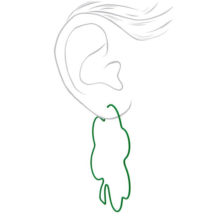 Green Shamrock Outline Hoop Earrings,
