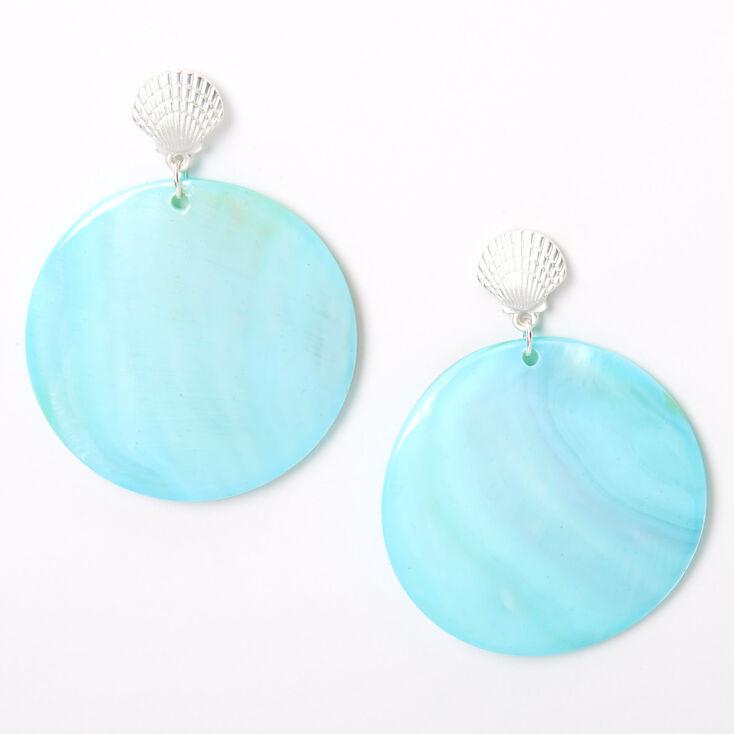 """Silver 2"""" Seashell Disc Drop Earrings - Mint,"""