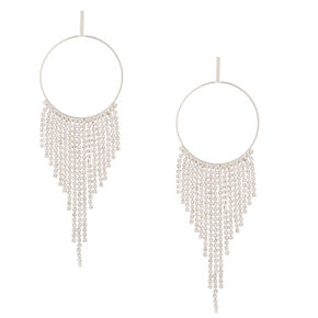 "Silver Rhinestone 4.5"" Fringe Drop Earrings,"