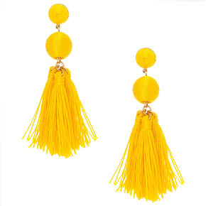 "3"" Wrapped Tassel Drop Earrings - Yellow,"