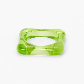 Square Resin Ring - Green,