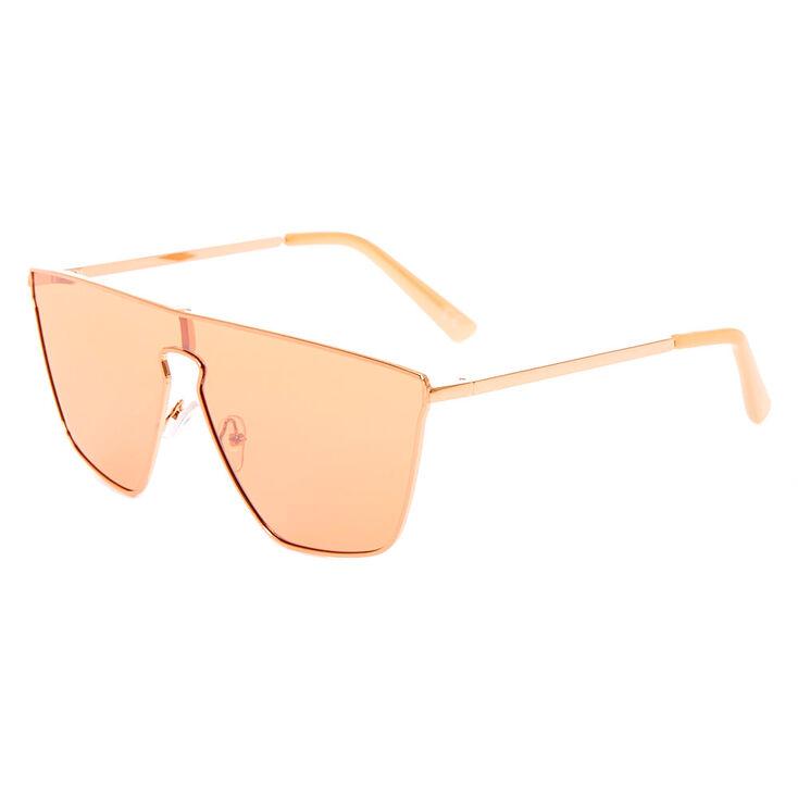 Retro Sunglasses | Vintage Glasses | New Vintage Eyeglasses Icing Shield Sunglasses - Rose Gold $16.99 AT vintagedancer.com