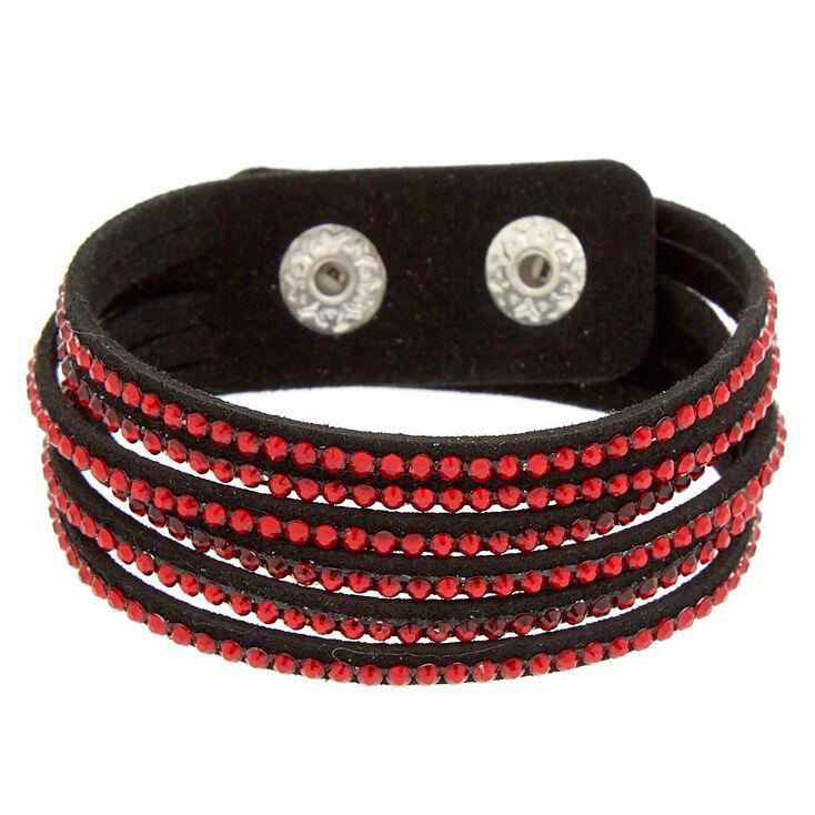 Studded Layered Wrap Bracelet - Red,