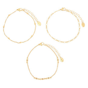 Gold Mixed Chain Anklets - 3 Pack,