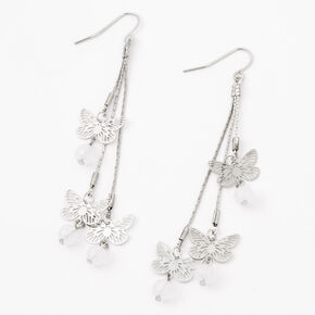 "Silver 3"" Butterfly Beaded Drop Earrings,"