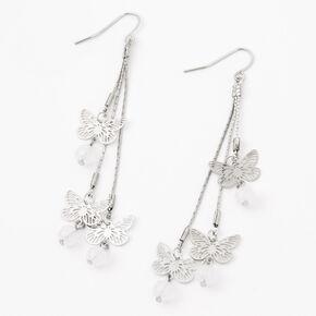 """Silver 3"""" Butterfly Leaf Charm Drop Earrings,"""