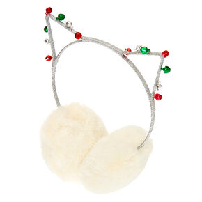 Bell Cat Ears Ear Muffs - White,