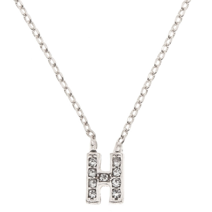 "Silver Studded ""H"" Initial Necklace,"