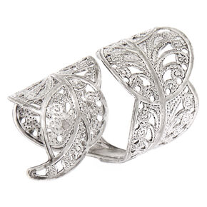 Silver Filigree Leaf Wrap Ring,