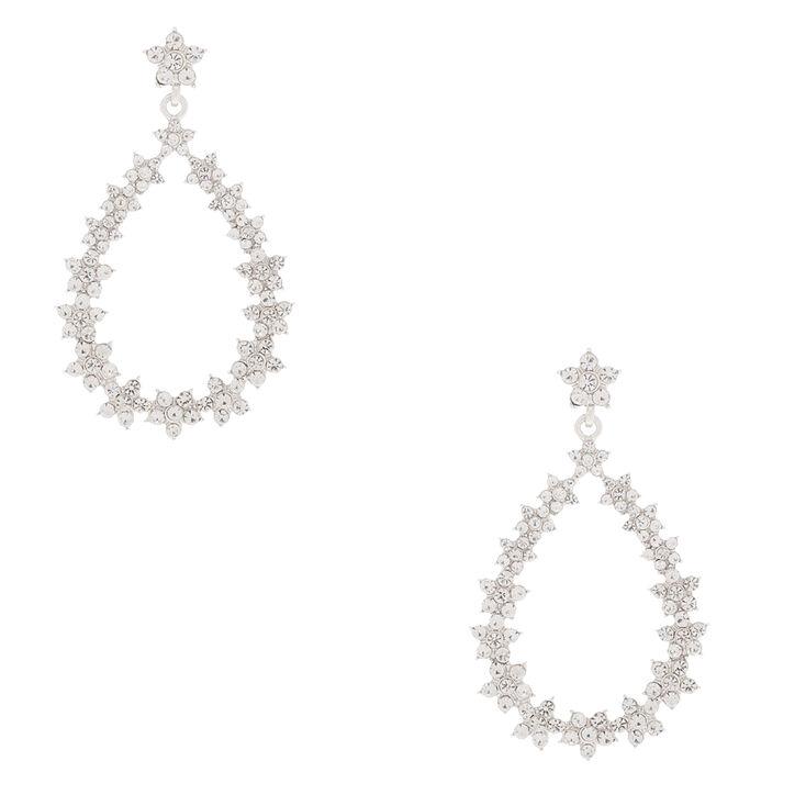 """Silver 2"""" Floral Wreath Drop Earrings,"""