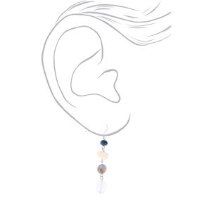 "Silver 2"" Seashell Stone Drop Earrings - Blue,"