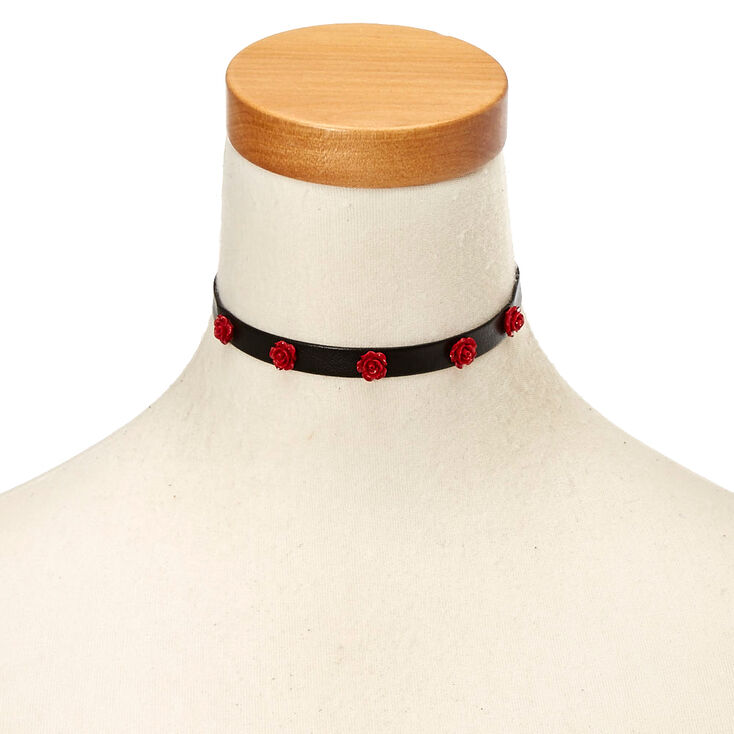 Black Faux Leather & Carved Roses Choker Necklace,