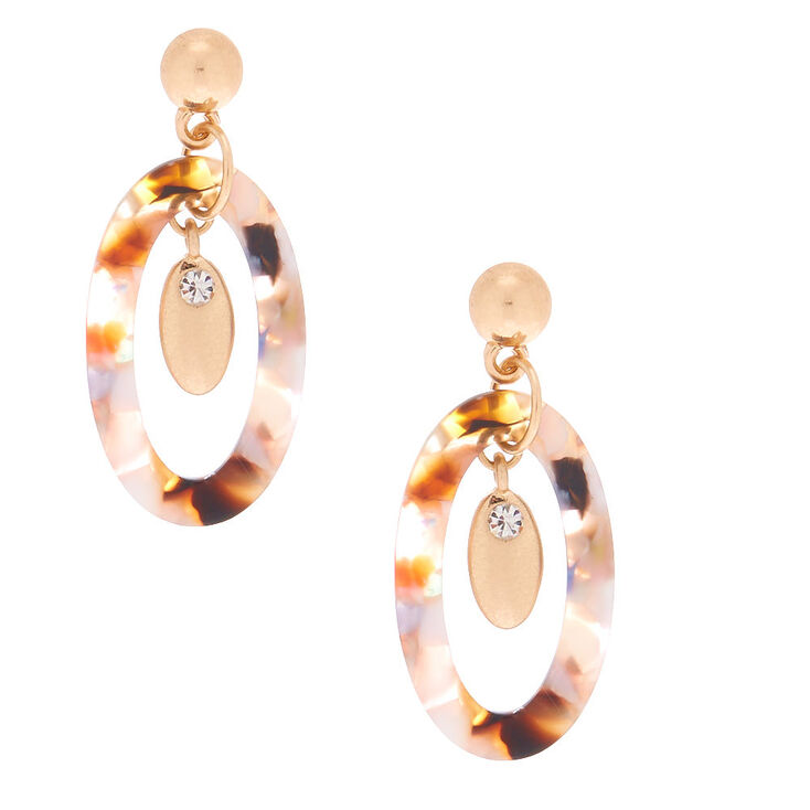 "1.5"" Resin Painted Oval Drop Earrings,"