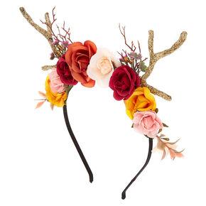 Autumn Flower Crown Deer Antlers Headband,