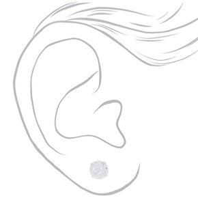 Sterling Silver 7MM Cubic Zirconia Grid Stud Earrings,