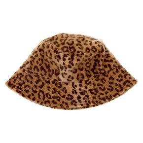 Fuzzy Leopard Print Bucket Hat,