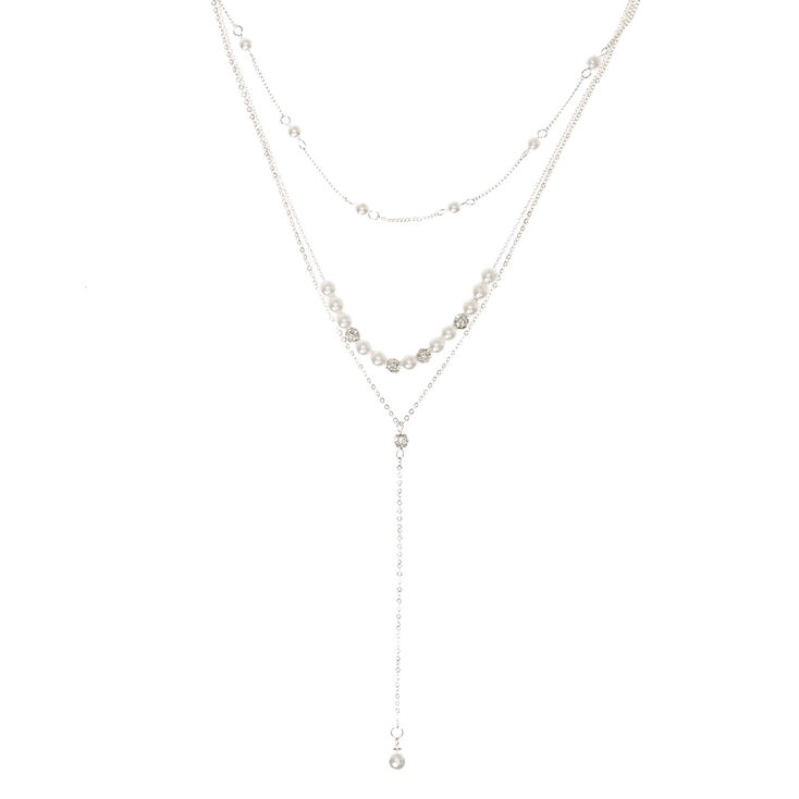 Silver Tone Fireball & White Faux Pearl Y Necklace,