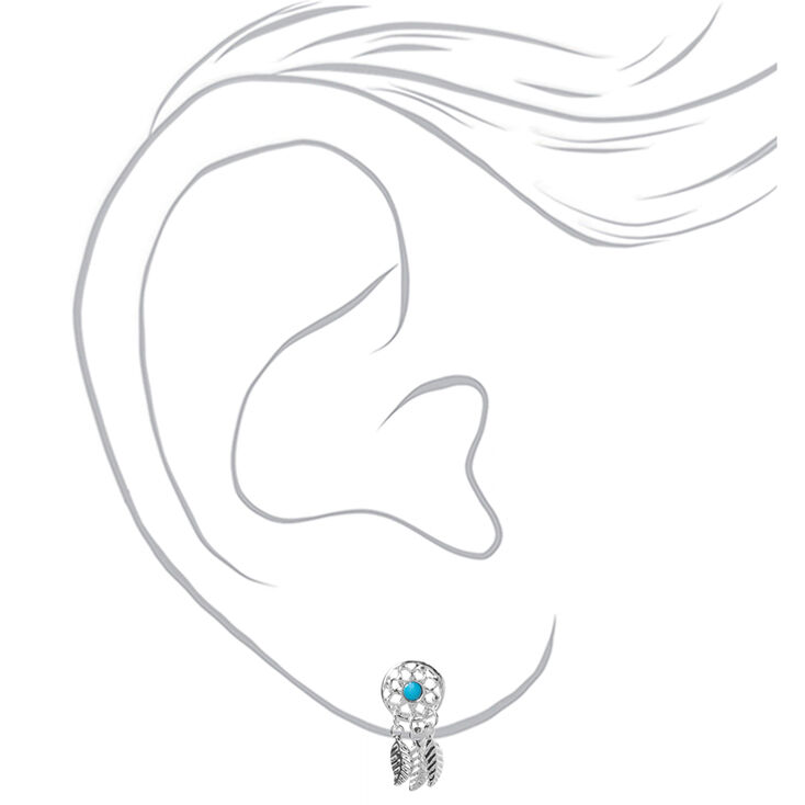 Silver Dreamcatcher Stud Earrings - Turquoise,